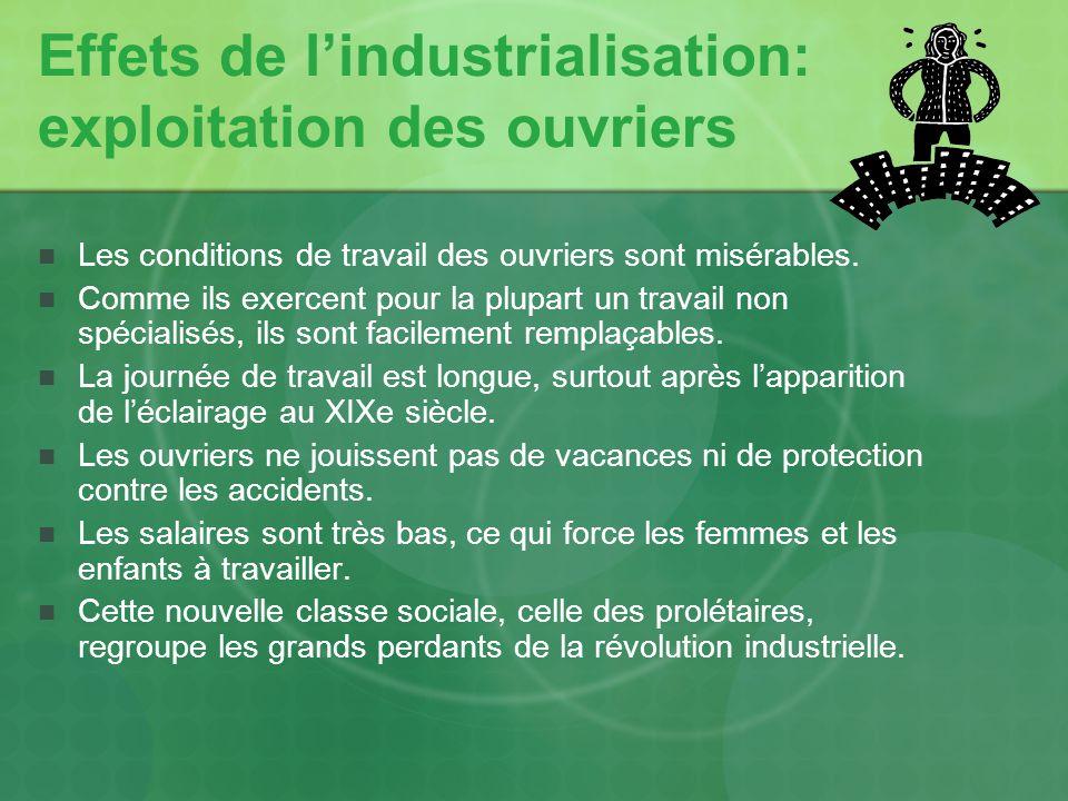 Effets de l'industrialisation: exploitation des ouvriers