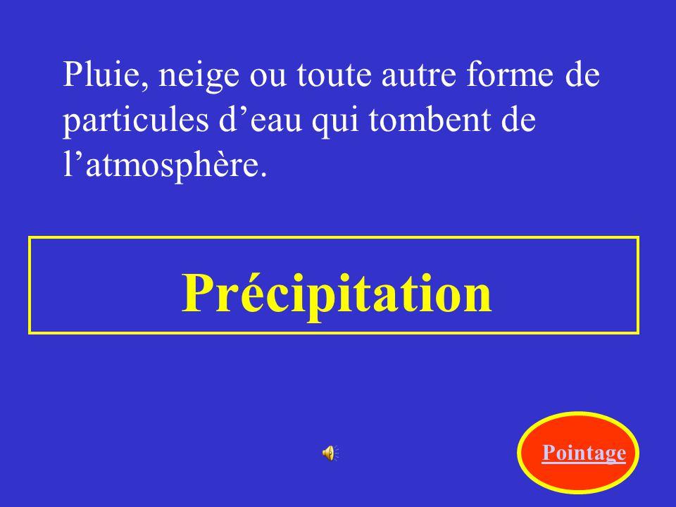 Pluie, neige ou toute autre forme de particules d'eau qui tombent de l'atmosphère.