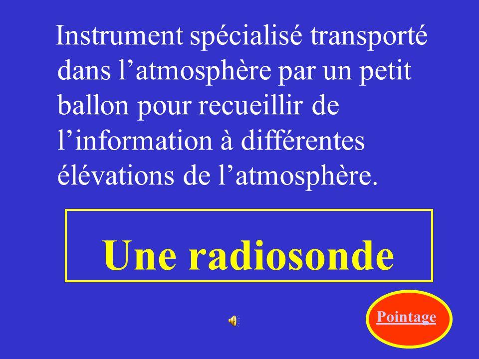 Instrument spécialisé transporté dans l'atmosphère par un petit ballon pour recueillir de l'information à différentes élévations de l'atmosphère.