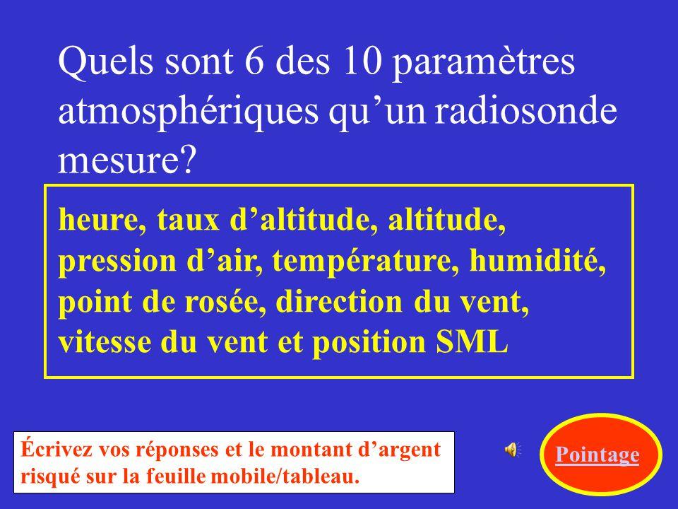 Quels sont 6 des 10 paramètres atmosphériques qu'un radiosonde mesure