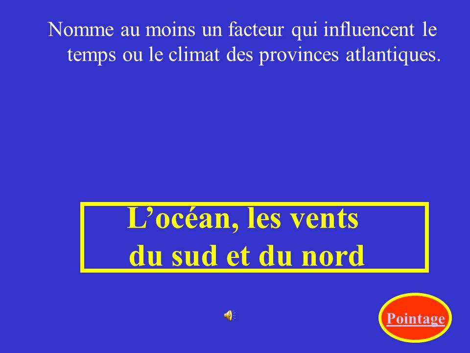 L'océan, les vents du sud et du nord