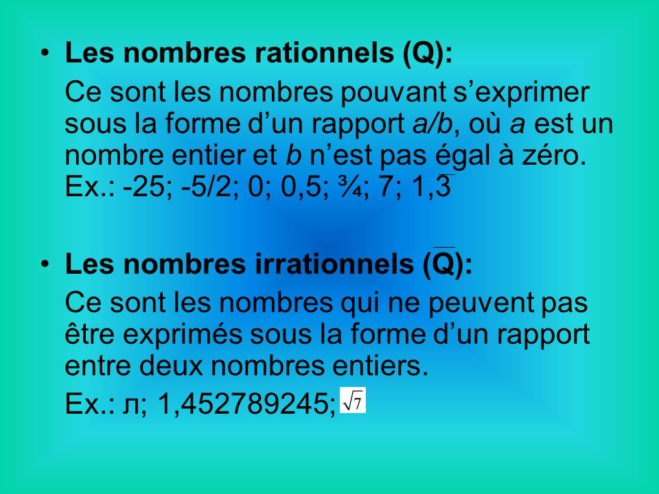 Les nombres rationnels (Q):