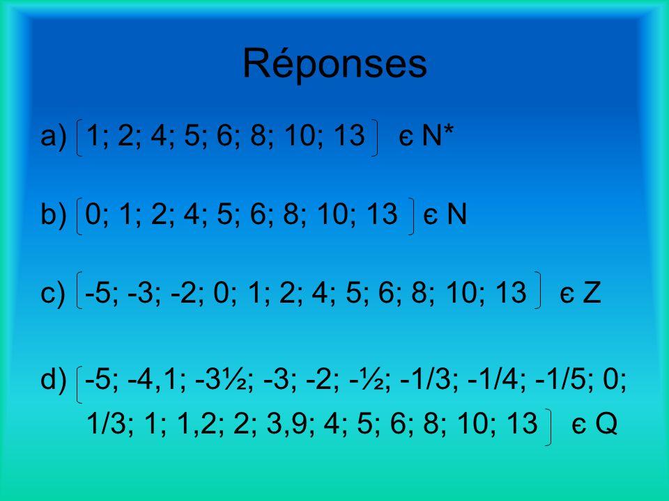 Réponses 1; 2; 4; 5; 6; 8; 10; 13 є N* 0; 1; 2; 4; 5; 6; 8; 10; 13 є N