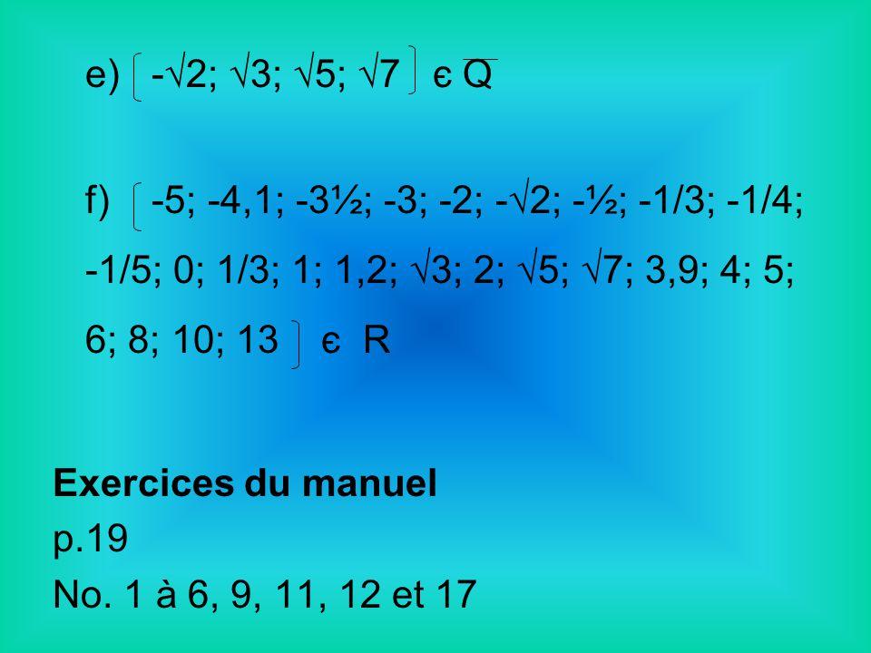 e) -√2; √3; √5; √7 є Q f) -5; -4,1; -3½; -3; -2; -√2; -½; -1/3; -1/4; -1/5; 0; 1/3; 1; 1,2; √3; 2; √5; √7; 3,9; 4; 5; 6; 8; 10; 13 є R.