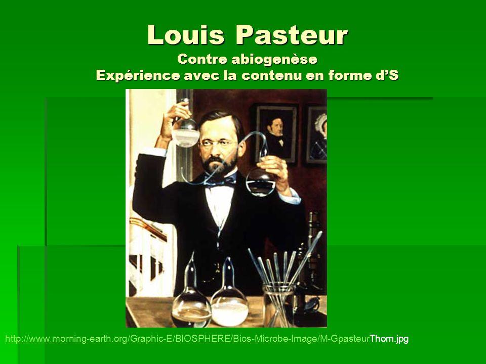 Louis Pasteur Contre abiogenèse Expérience avec la contenu en forme d'S