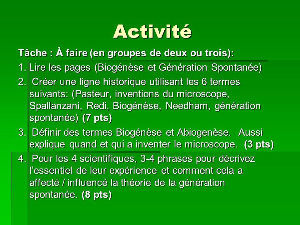 Activité Tâche : À faire (en groupes de deux ou trois):