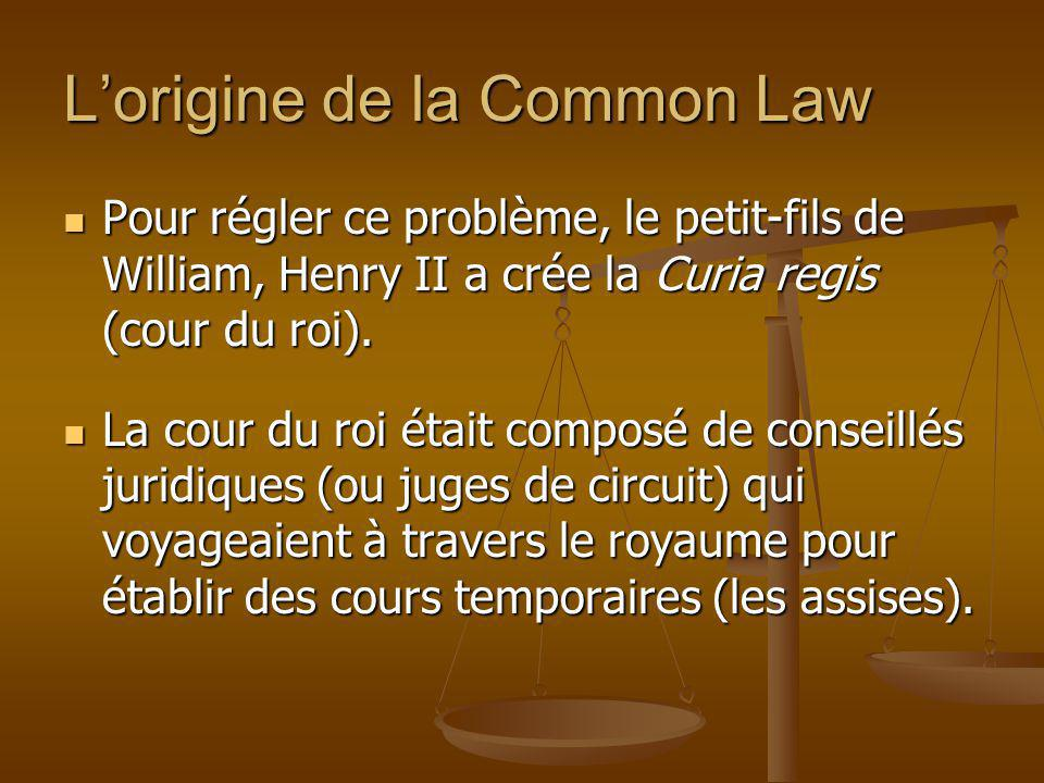 L'origine de la Common Law