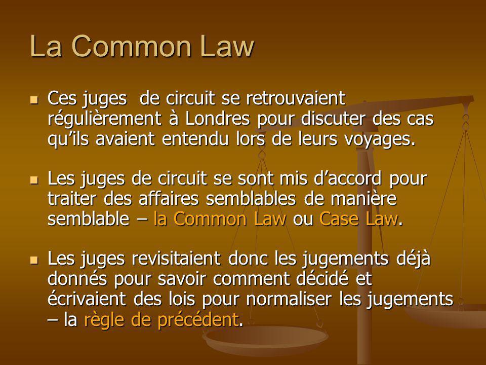 La Common Law Ces juges de circuit se retrouvaient régulièrement à Londres pour discuter des cas qu'ils avaient entendu lors de leurs voyages.