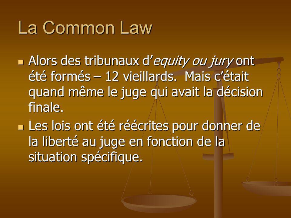 La Common Law Alors des tribunaux d'equity ou jury ont été formés – 12 vieillards. Mais c'était quand même le juge qui avait la décision finale.