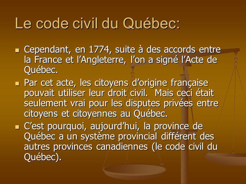 Le code civil du Québec: