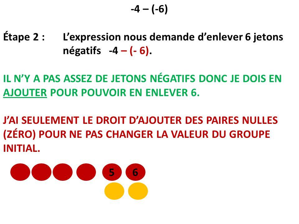 -4 – (-6) Étape 2 : L'expression nous demande d'enlever 6 jetons négatifs -4 – (- 6).