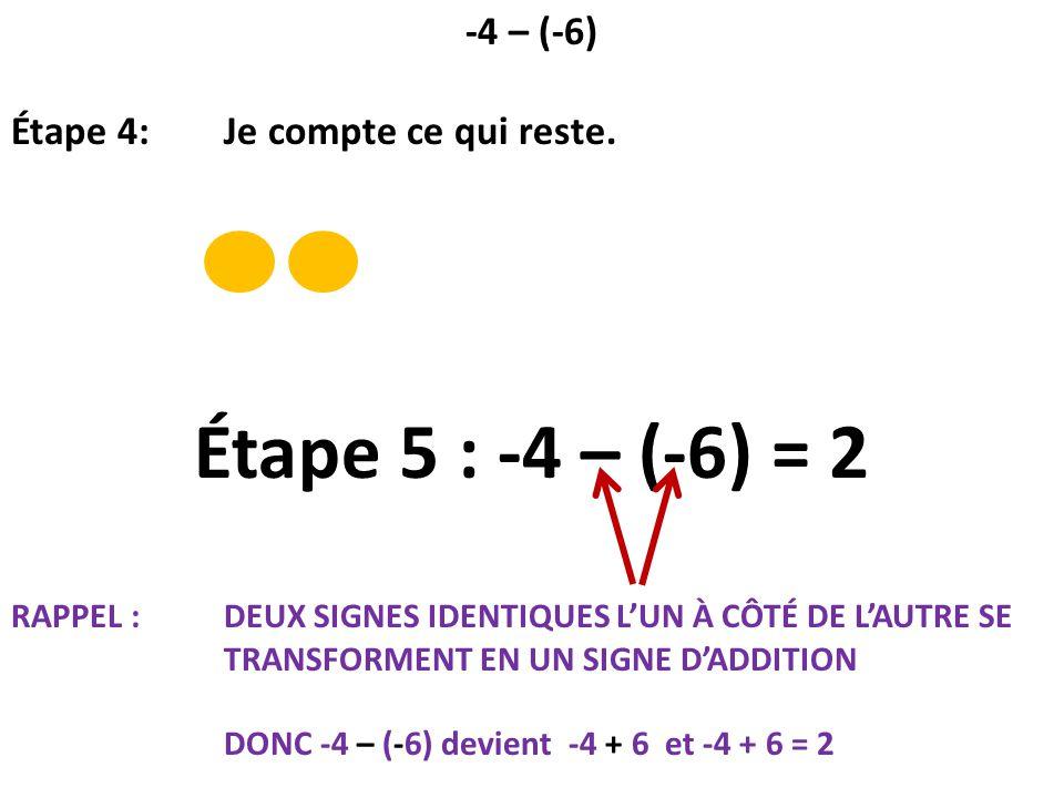 Étape 5 : -4 – (-6) = 2 -4 – (-6) Étape 4: Je compte ce qui reste.