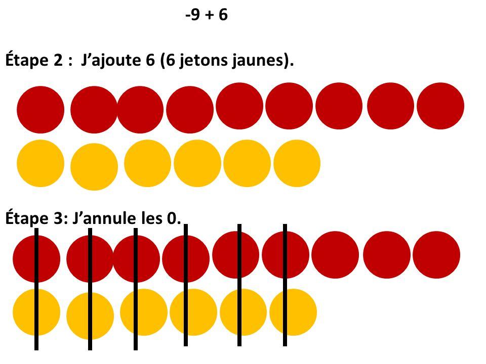 -9 + 6 Étape 2 : J'ajoute 6 (6 jetons jaunes). Étape 3: J'annule les 0.