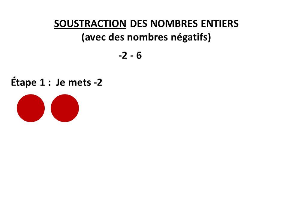 SOUSTRACTION DES NOMBRES ENTIERS (avec des nombres négatifs)