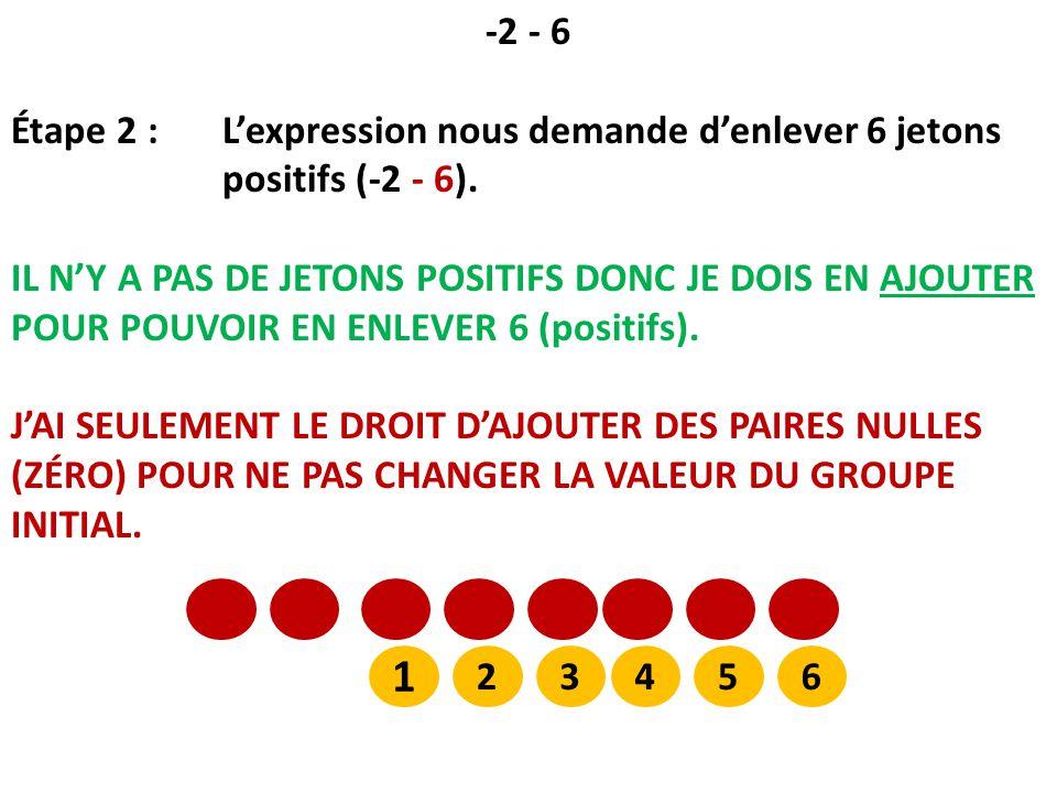 -2 - 6 Étape 2 : L'expression nous demande d'enlever 6 jetons positifs (-2 - 6).