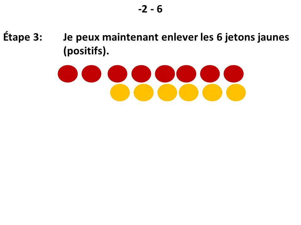 -2 - 6 Étape 3: Je peux maintenant enlever les 6 jetons jaunes (positifs).
