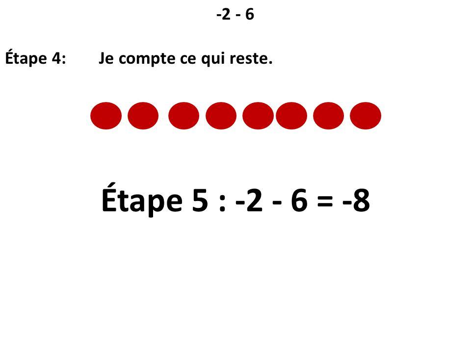 -2 - 6 Étape 4: Je compte ce qui reste. Étape 5 : -2 - 6 = -8