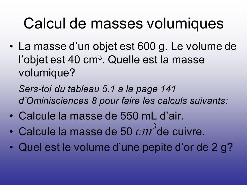 Calcul de masses volumiques