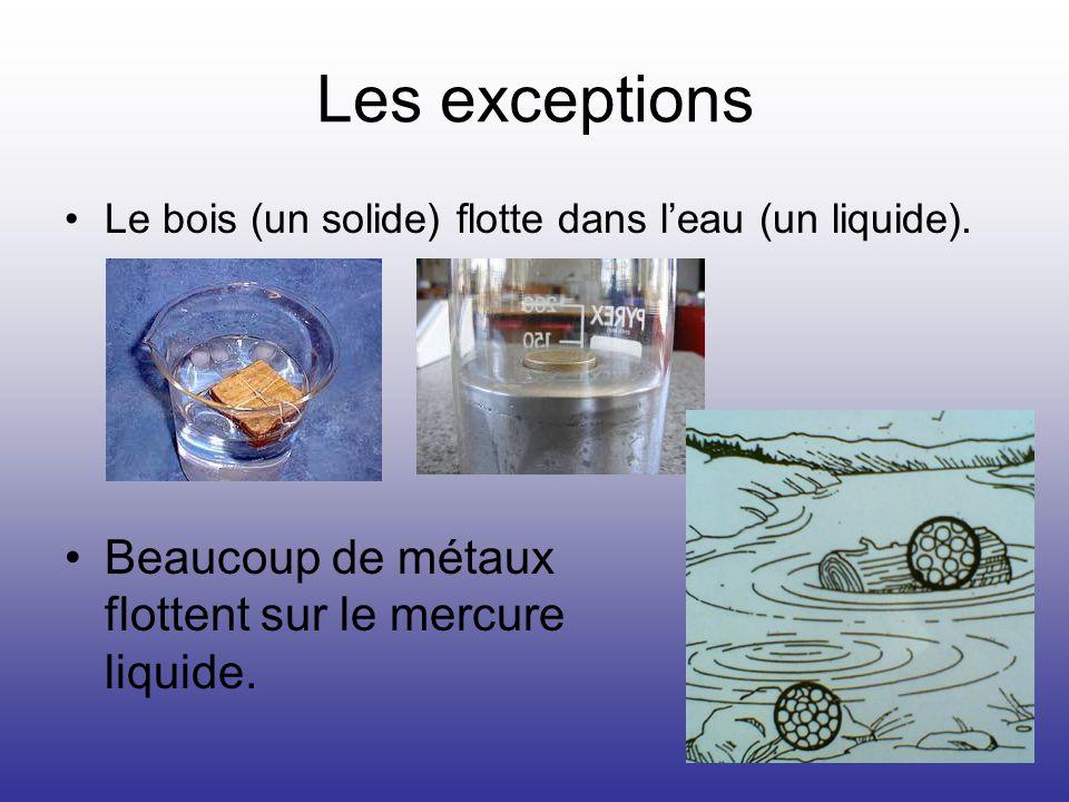 Les exceptions Beaucoup de métaux flottent sur le mercure liquide.