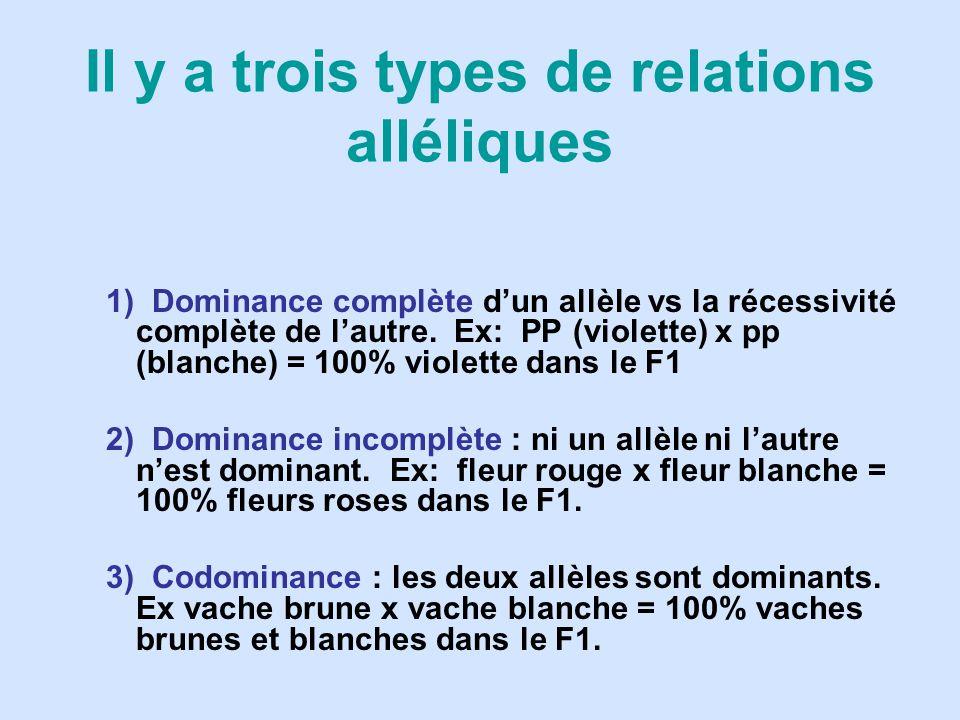 Il y a trois types de relations alléliques