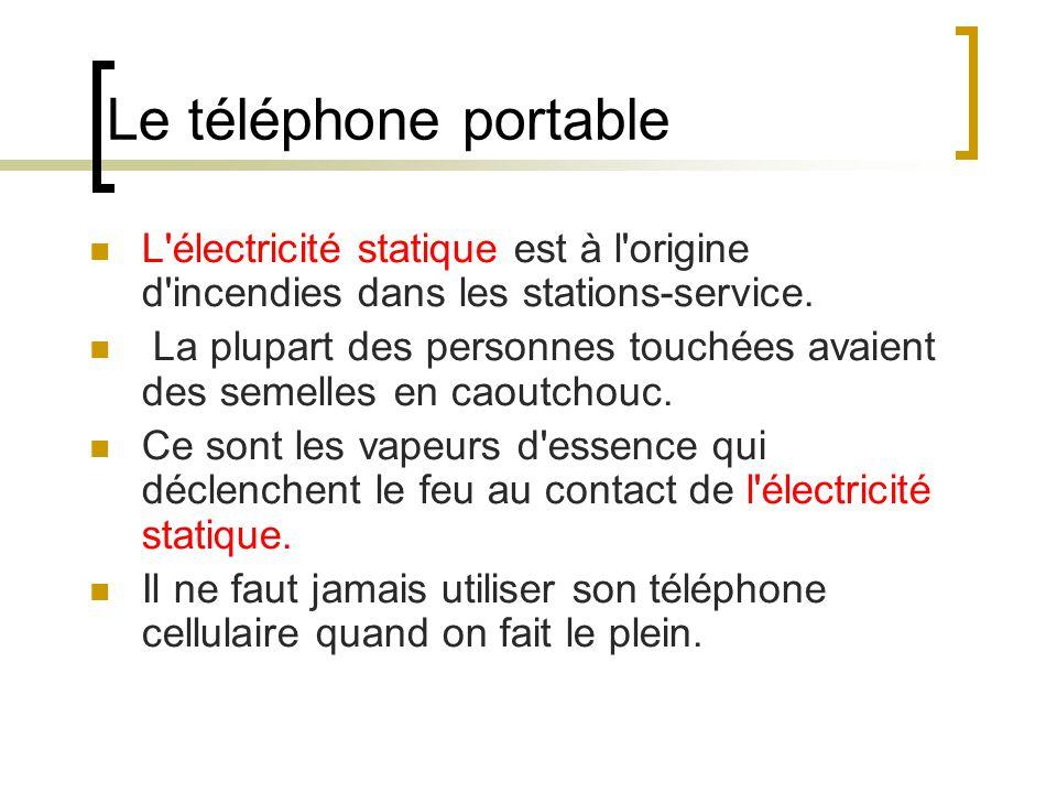 Le téléphone portable L électricité statique est à l origine d incendies dans les stations-service.