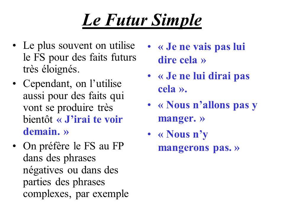 Le Futur Simple Le plus souvent on utilise le FS pour des faits futurs très éloignés.