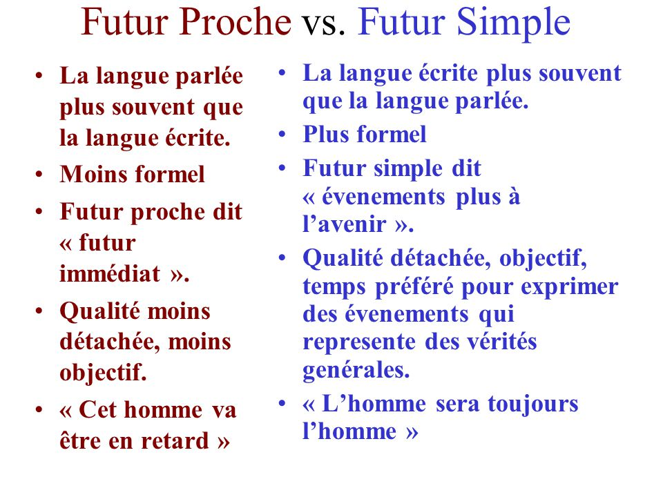 Futur Proche vs. Futur Simple