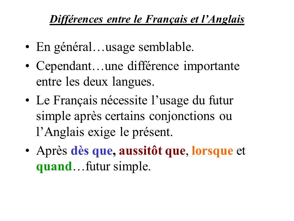 Différences entre le Français et l'Anglais