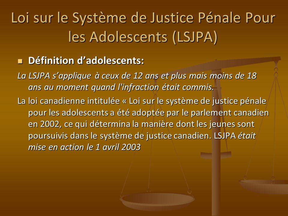 Loi sur le Système de Justice Pénale Pour les Adolescents (LSJPA)