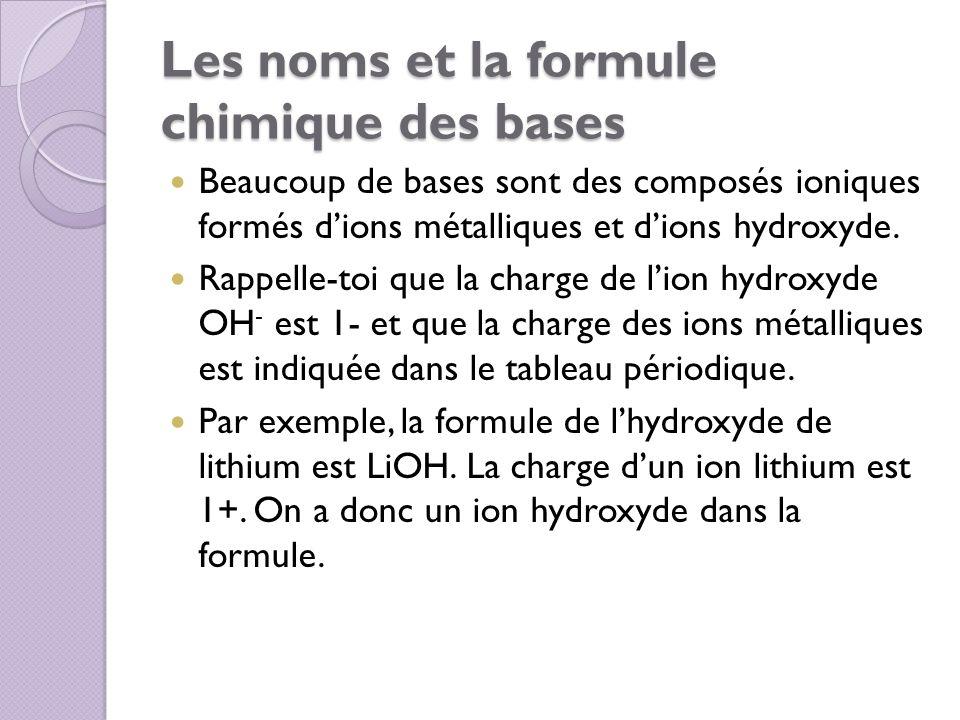 Les noms et la formule chimique des bases
