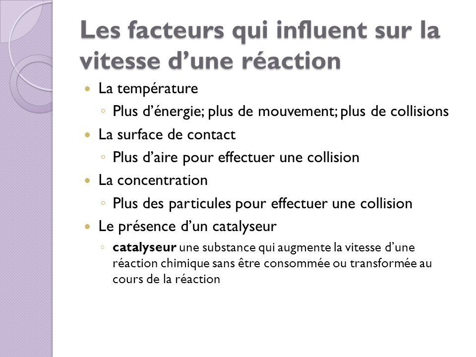 Les facteurs qui influent sur la vitesse d'une réaction