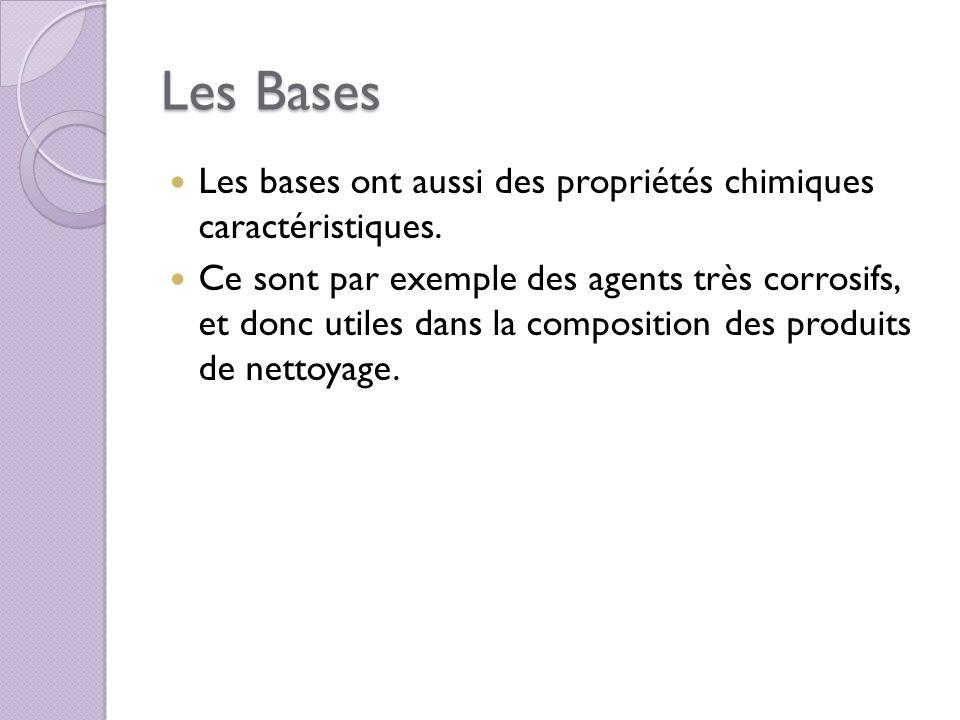 Les Bases Les bases ont aussi des propriétés chimiques caractéristiques.