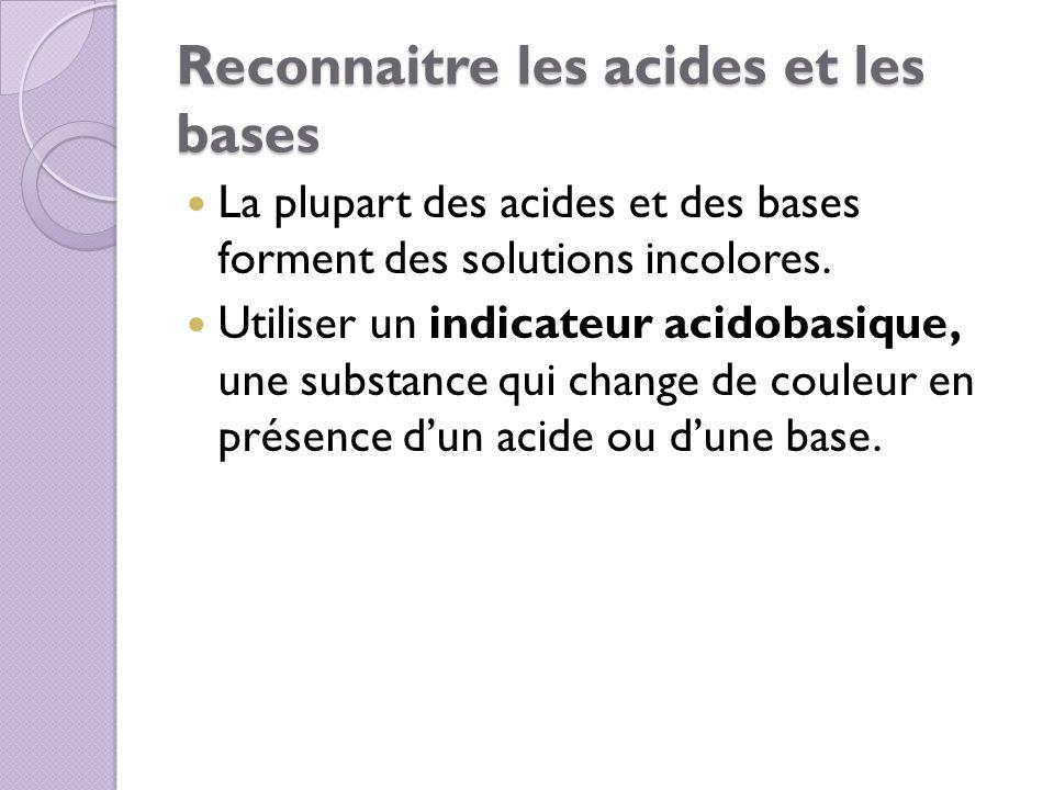 Reconnaitre les acides et les bases