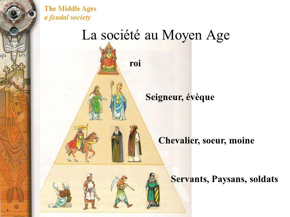 La société au Moyen Age roi Seigneur, évèque Chevalier, soeur, moine