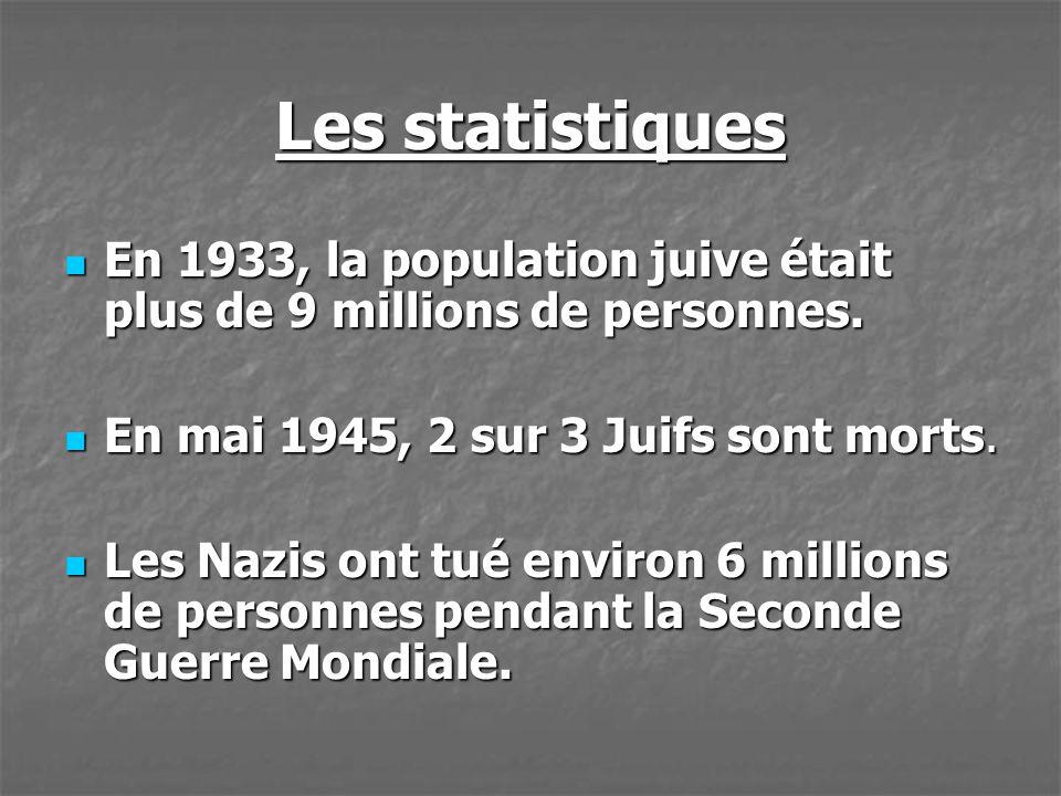 Les statistiques En 1933, la population juive était plus de 9 millions de personnes. En mai 1945, 2 sur 3 Juifs sont morts.