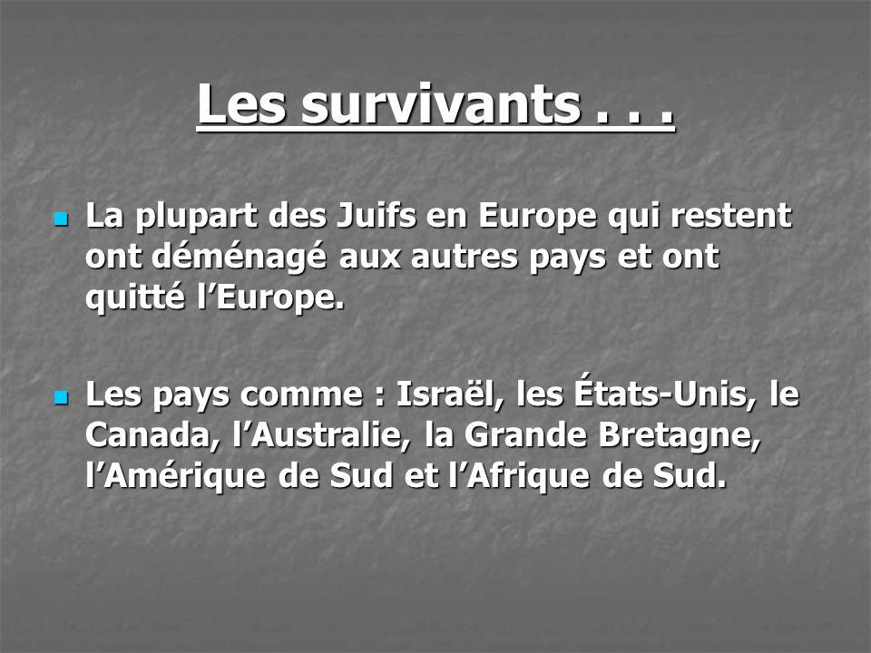 Les survivants . . . La plupart des Juifs en Europe qui restent ont déménagé aux autres pays et ont quitté l'Europe.
