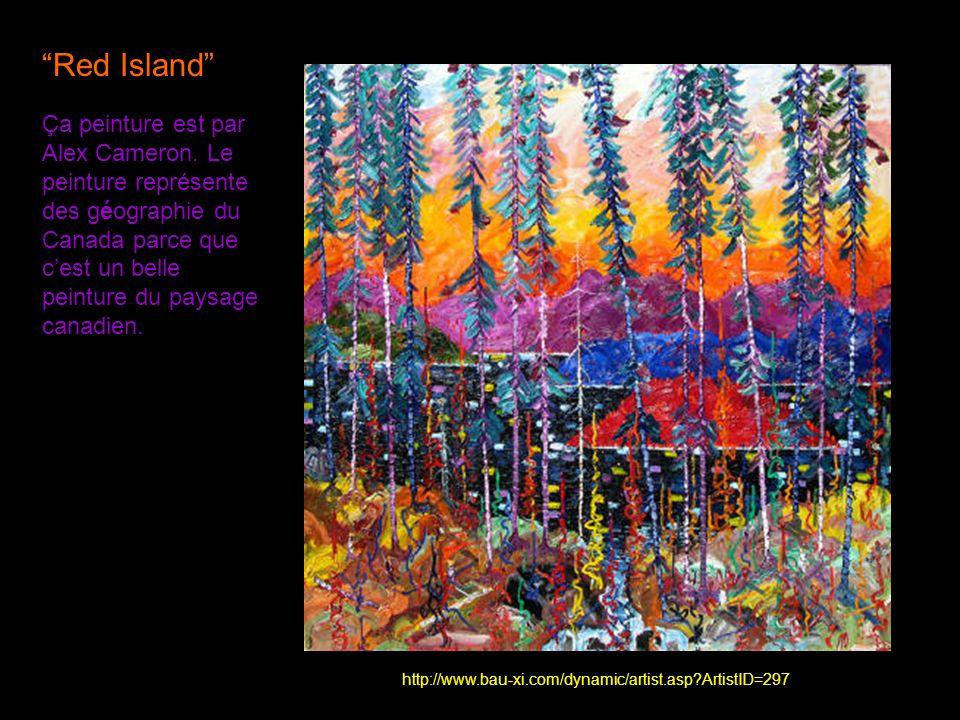 Red Island Ça peinture est par Alex Cameron. Le peinture représente des géographie du Canada parce que c'est un belle peinture du paysage canadien.
