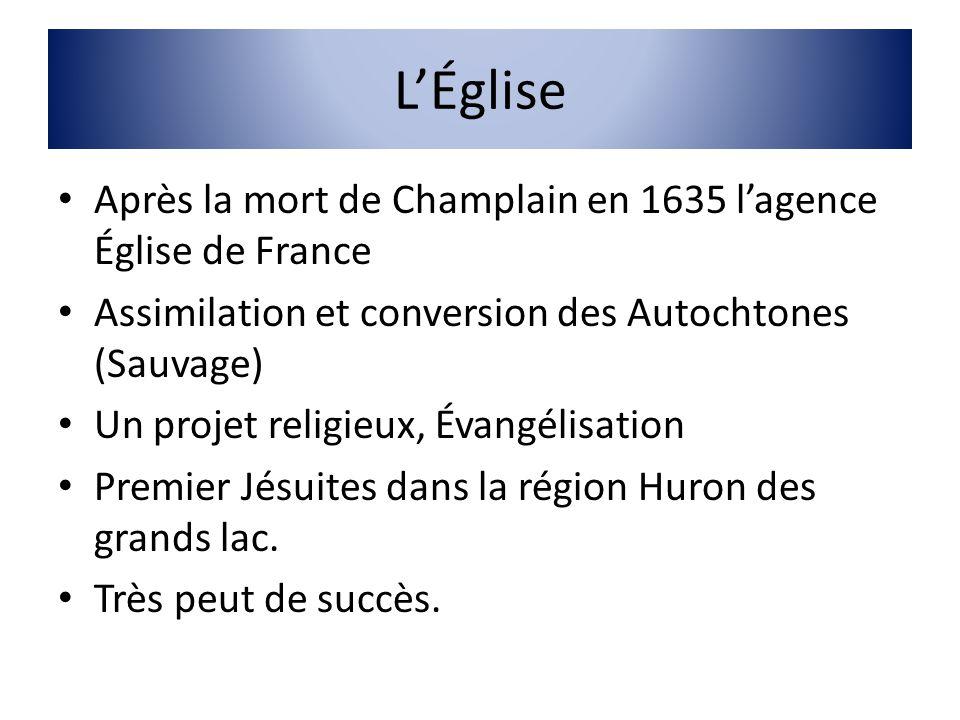 L'Église Après la mort de Champlain en 1635 l'agence Église de France