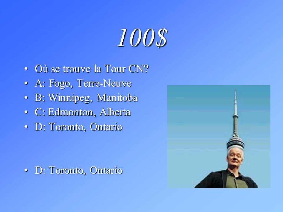 100$ Où se trouve la Tour CN A: Fogo, Terre-Neuve