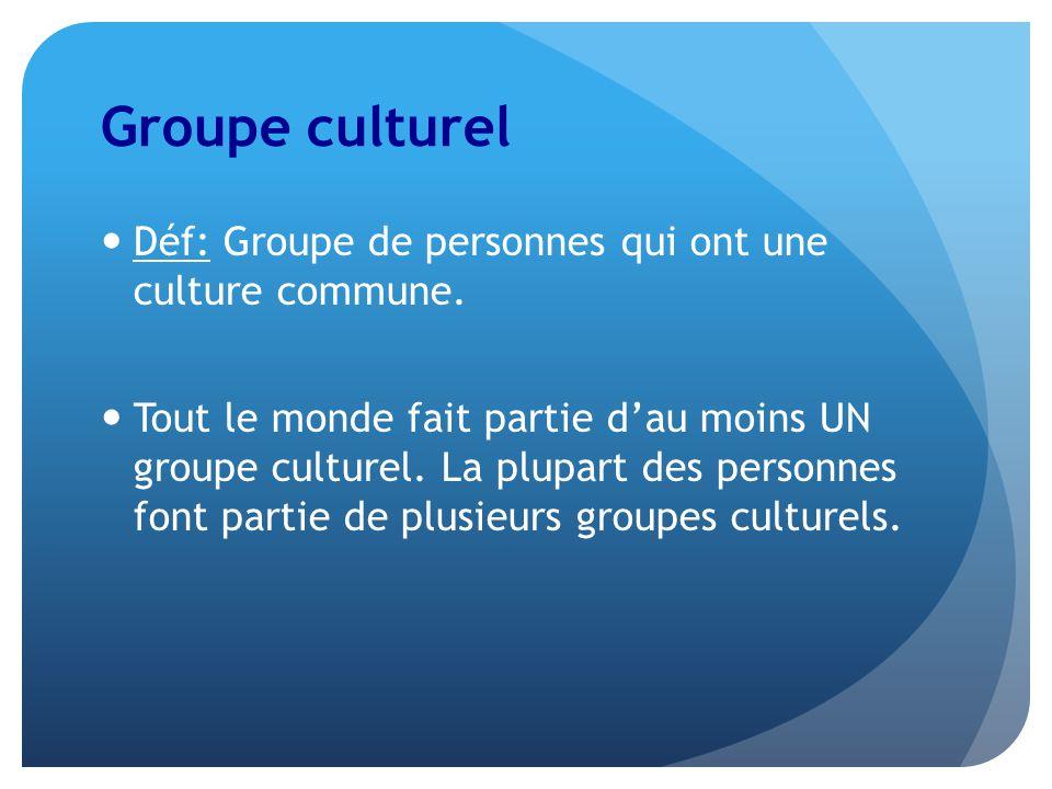 Groupe culturel Déf: Groupe de personnes qui ont une culture commune.