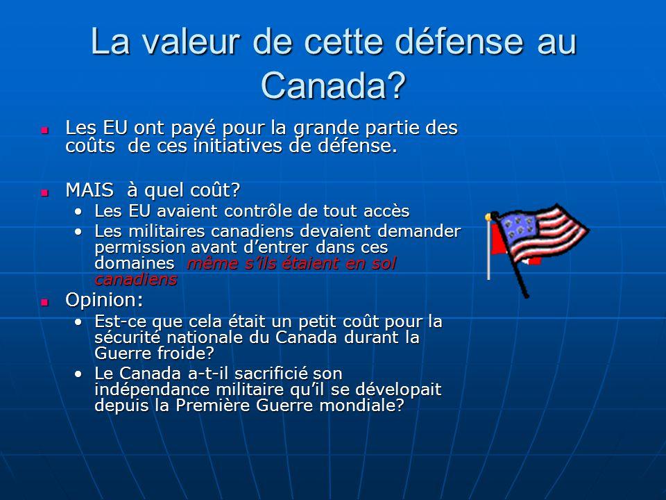 La valeur de cette défense au Canada