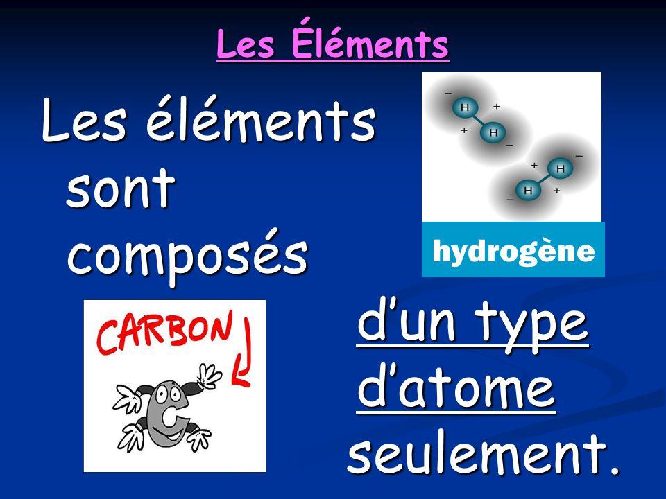 Les éléments sont composés d'un type d'atome seulement.