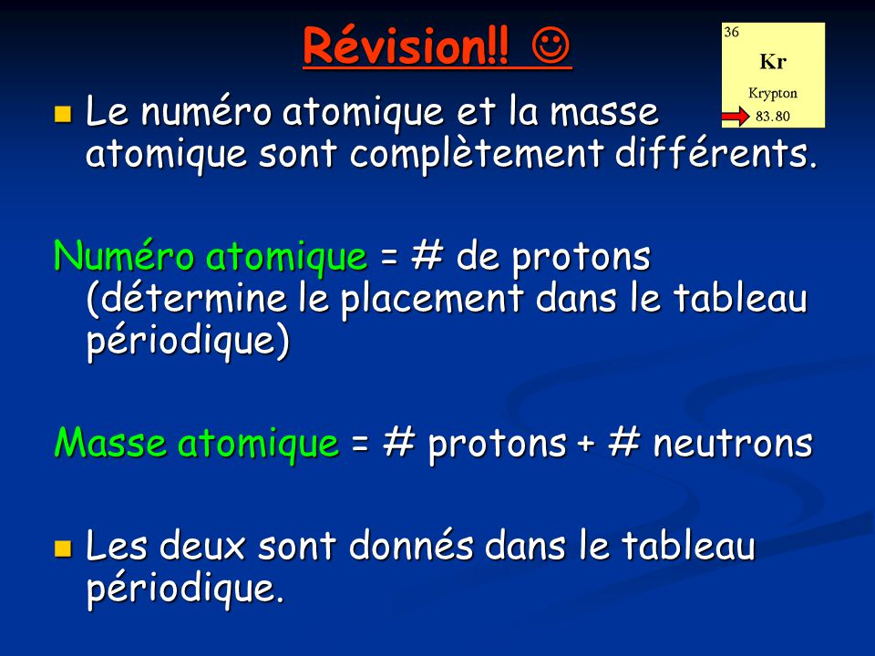 Révision!!  Le numéro atomique et la masse atomique sont complètement différents.