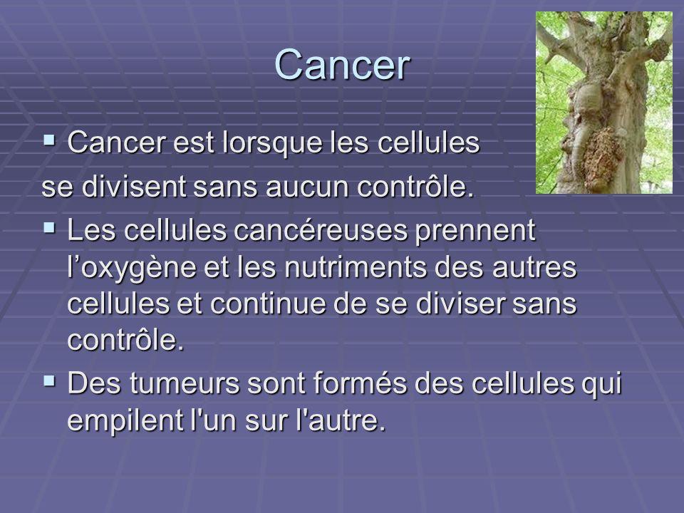 Cancer Cancer est lorsque les cellules