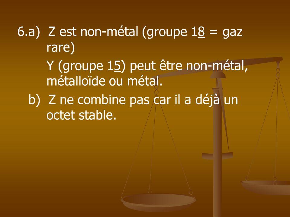 6.a) Z est non-métal (groupe 18 = gaz rare)