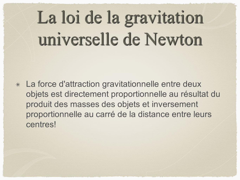 La loi de la gravitation universelle de Newton