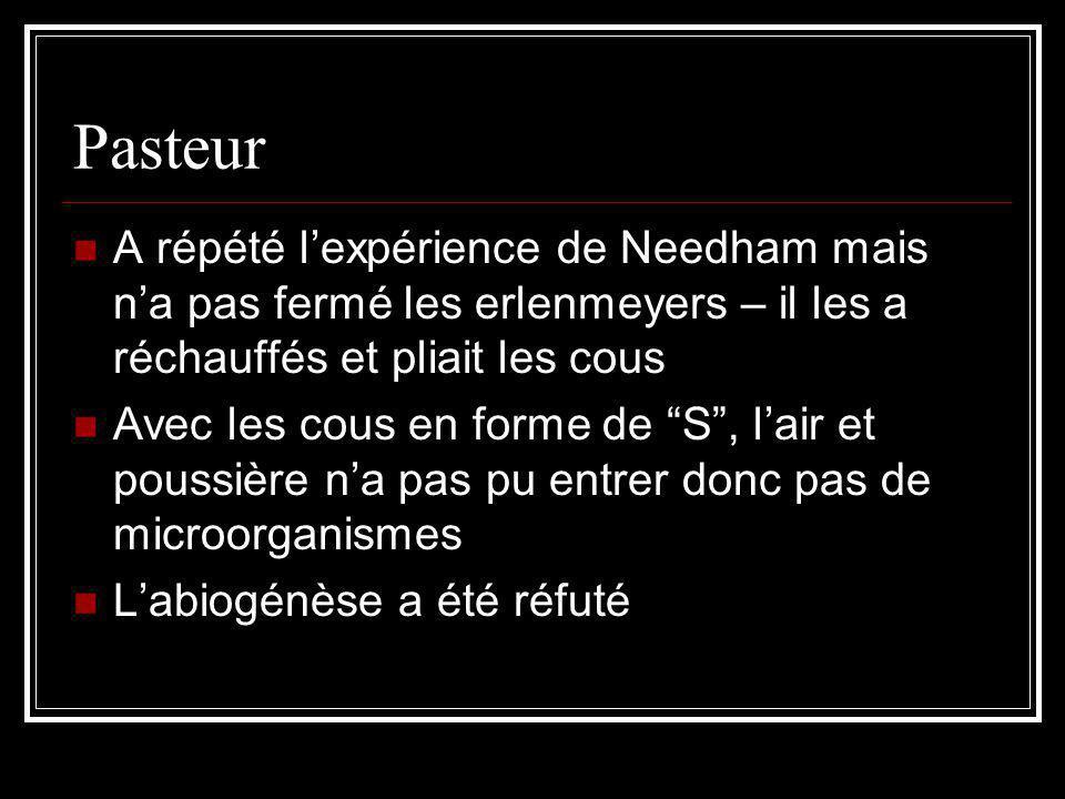 Pasteur A répété l'expérience de Needham mais n'a pas fermé les erlenmeyers – il les a réchauffés et pliait les cous.