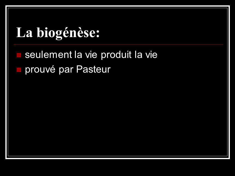 La biogénèse: seulement la vie produit la vie prouvé par Pasteur