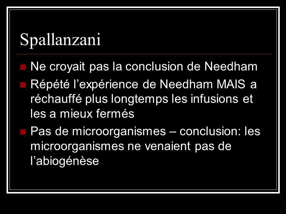 Spallanzani Ne croyait pas la conclusion de Needham