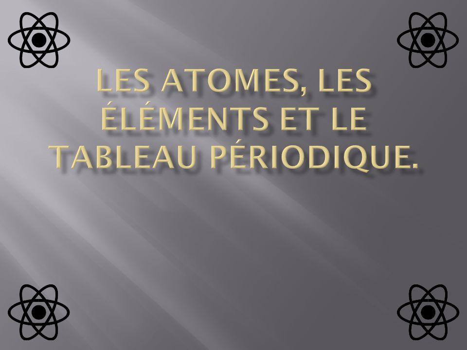Les atomes, les éléments et lE tableau périodique.